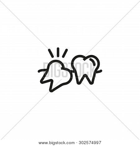 Wisdom Tooth Line Icon. Pain, Molar, Crooked Teeth. Teeth Health Concept. Vector Illustration Can Be