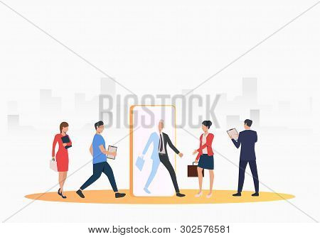 Business People Searching For Job Applicants. Hr, Headhunting, Hiring Concept. Vector Illustration C