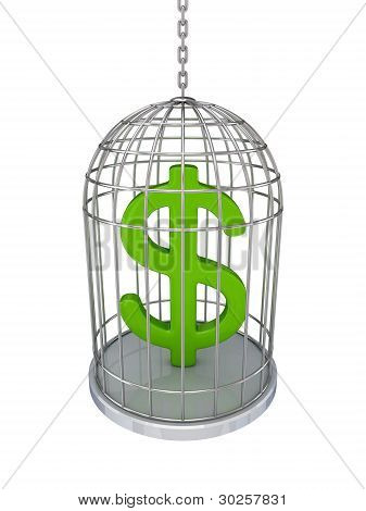 Dollar sign in a birdcage.