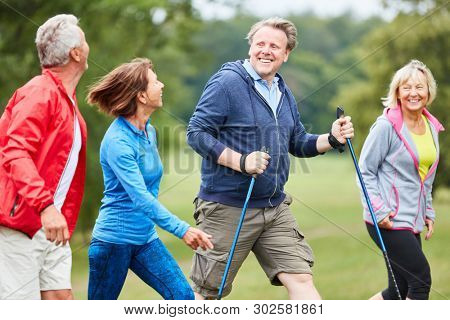 Four active seniors have fun together on a hike in nature