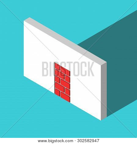The Only Isometric Doorway Walled-up With Red Bricks Or Blocks On Turquoise Blue. Obstacle, Challeng