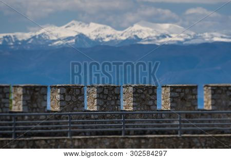 Detail Of The Massive Walls Of The Castle Samuil,located Above Ohrid Lake, Republic Of Macedonia