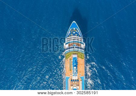 Nose Of The Cruise Ship In The Turquoise Sea. Concept Of Summer Sea Cruise Tours