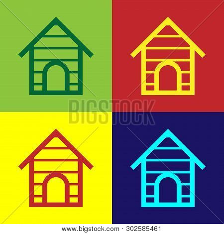Color Dog house icon isolated on color backgrounds. Dog kennel. Vector Illustration poster