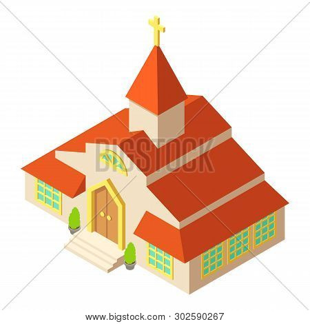 Tall Church Icon. Isometric Illustration Of Tall Church Icon For Web