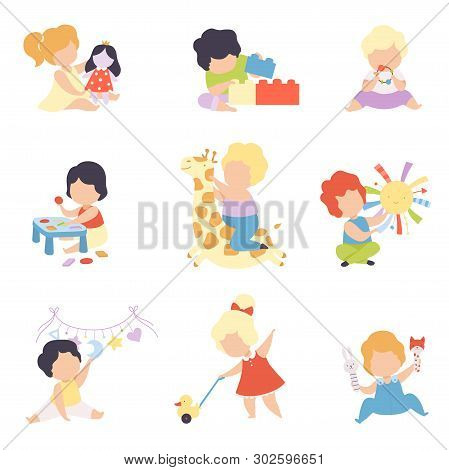 Cute Little Kids Playing With Toys Set, Toddler Boys And Girls Playing With Doll, Blocks, Stuffed To