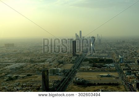 Saudi Arabia. Riyadh or Riad. The view from the top. City panorama. Sand fog. poster