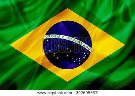 3d Rendering Of Brazil Or Brasil Country Flag Symbol On Silk Or Silky Waving Texture. Smooth Fabric