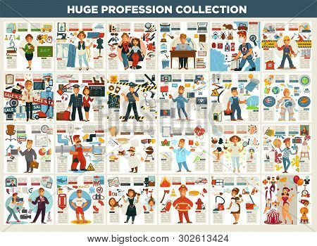 Profession Collection Work And Job Career And Working Equipment