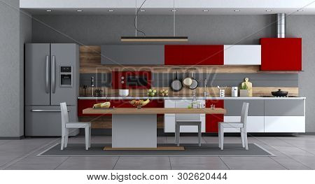 Red ,white And Gray Modern Kitchen With Minimalist Dining Table And Chairs - 3d Rendering