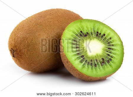 Sliced Kiwi. Kiwi. Healthy Food. Tropical Fruit. Still Life. Juicy Kiwi On White Background
