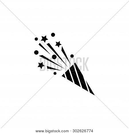 Party Flapper, Confetti Popper. Flat Vector Icon Illustration. Simple Black Symbol On White Backgrou