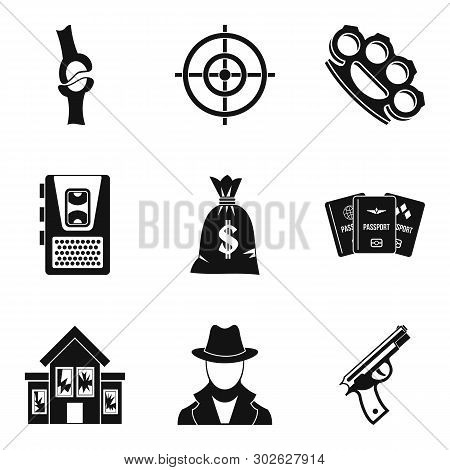Violation icons set. Simple set of 9 violation icons for web isolated on white background poster