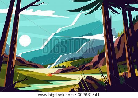 Vacation In Mountains Vector Illustration. Picturesque Landscape