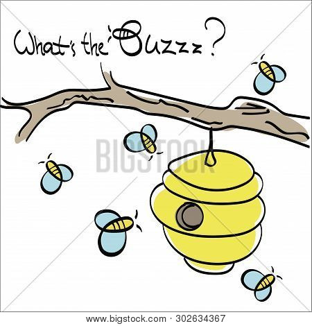 Bees Flying Around The Hive Buzzing Vector Drawing