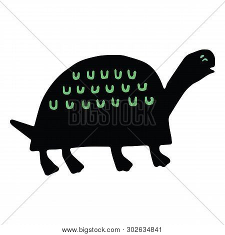 Cute Tortoise Silhouette Cartoon Vector Illustration Motif Set. Hand Drawn Bold Wildlife Elements Cl