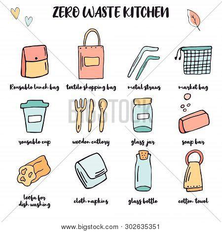 Zero Waste Kitchen Big Set. Hand Drawn Items. Plastic Free Essentials