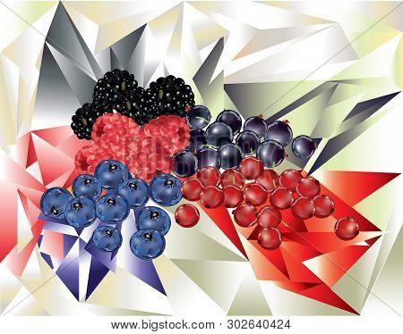 Summer Bright Fresh Berries On Cubism  Background