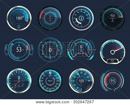 Set Of Isolated Car Or Moto, Truck Speedometer. Motorbike Or Motorcycle, Auto Or Automobile, Lorry S