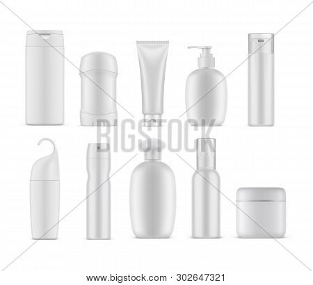 Set Of Isolated Cosmetic Or Perfume Containers. Empty Bottles Mockup For Cream And Gel, Shampoo And