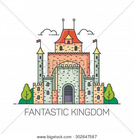 Beautiful Magic Castle For Princess. Cartoon Kingdom Building For Fairytale. Fantastic Or Fantasy Fo