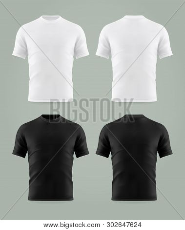 Set Of Isolated Black And White T-shirt Template. Mockup Of Shirts Print Background. Men Or Man, Mal
