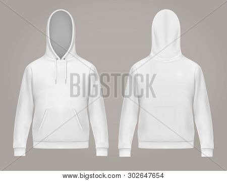 Set Of Isolated Man Hoodie Or Front And Back Of White Men Hoody With Kangaroo Pocket, Drawstrings. C