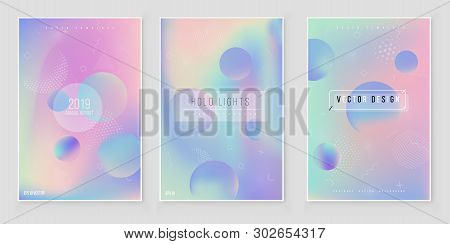 Furistic Modern Holographic Cover Set. 90s, 80s Retro Style.  Hipster Style Graphic Geometric Hologr