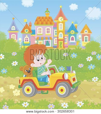Little Boy Driving A Toy Off Road Car On A Road Out Of Town On A Summer Day, Vector Illustration In