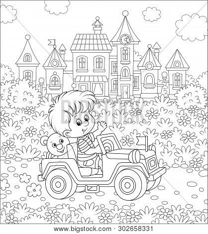 Little Boy Driving A Toy Off Road Car On A Road Out Of Town On A Summer Day, Black And White Vector