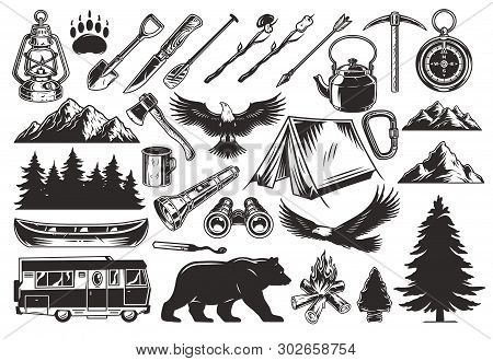 Vintage Monochrome Camping Elements Set With Animals Forest Mountains Lantern Spade Arrow Paddle Pic