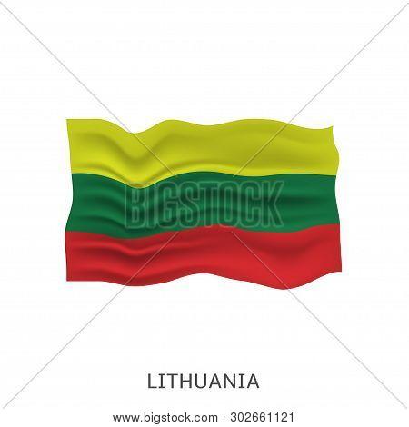 Flag Of Lithuania. Lithuanian Waving Flag, Vector Illustration