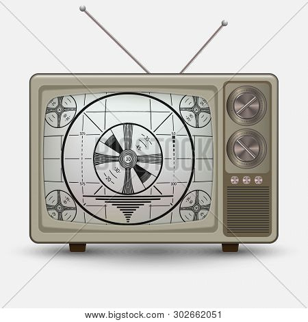 Realistic Old Vintage Tv. Retro Televesion With No Signal Test. Illustration On White Background