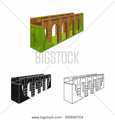 Isolated Object Of Bridge And Relocation Logo. Collection Of Bridge And Column Vector Icon For Stock