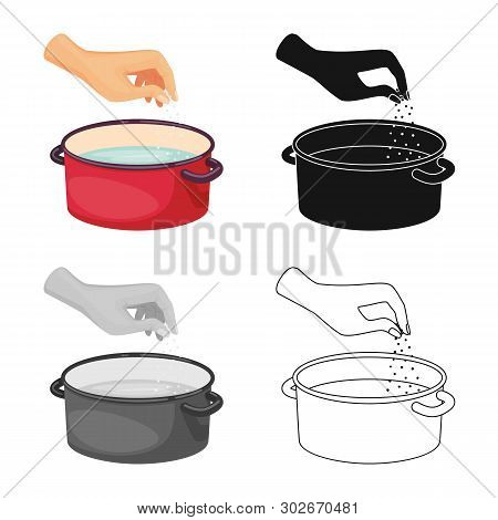 Vector Illustration Of Casserole And Water Logo. Collection Of Casserole And Arm Vector Icon For Sto