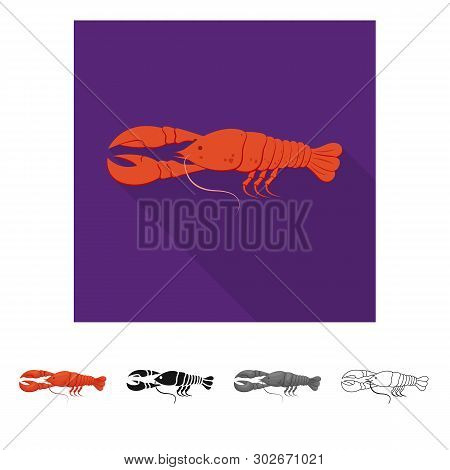 Isolated Object Of Crayfish  And Lobster Symbol. Collection Of Crayfish  And Boiled Vector Icon For