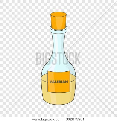 Small Bottle With Valerian Icon. Cartoon Illustration Of Valeriana Vector Icon For Web Design