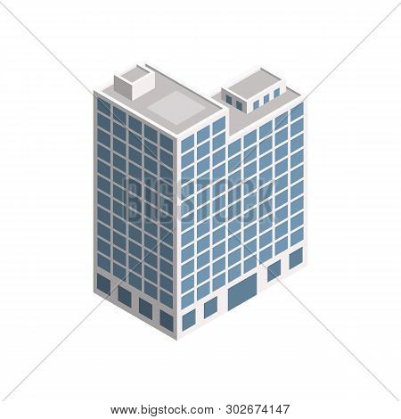 Vector Isometric City Building. Vector Isometric City Building Icon Isolated On White Background. Pr