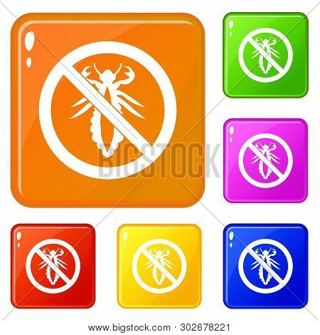 No Louse Sign Icons Set Collection Vector 6 Color Isolated On White Background