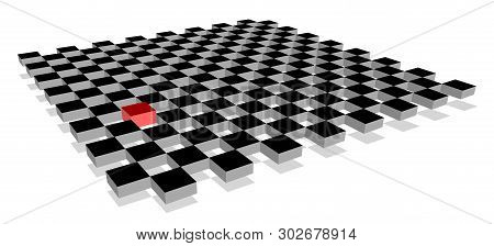 Red Cube Standing Out From Crowd Of Plenty Identical Fellows On 3d Checkerboard Plane. Leadership, U