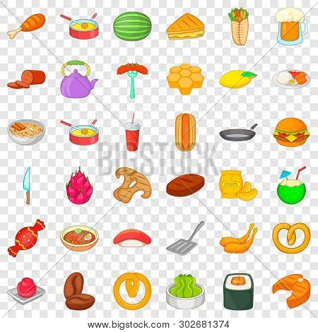 Dinner Icons Set. Cartoon Style Of 36 Dinner Vector Icons For Web For Any Design