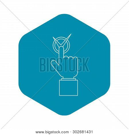 Hand With Voting Sign Icon. Outline Illustration Of Hand With Voting Sign Vector Icon For Web