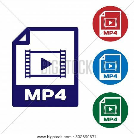 Blue Mp4 File Document Icon. Download Mp4 Button Icon Isolated On White Background. Mp4 File Symbol.