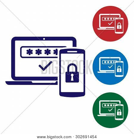 Blue Multi Factor, Two Steps Authentication Icon Isolated On White Background. Set Color Icon In Cir