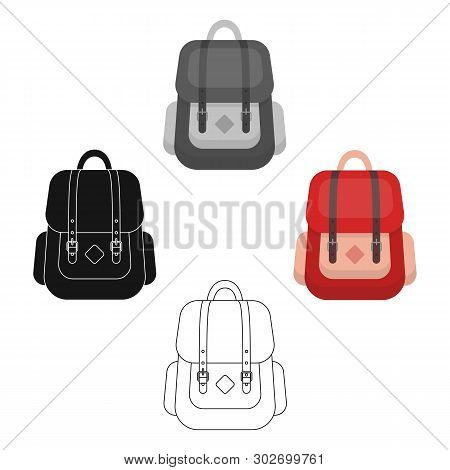 cc051e8b9 Hipster Backpack Icon In Cartoon, Black Style Isolated On White Background.  Hipster Style Symbol