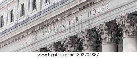 United States Court House. Courthouse Facade With Columns, Lower Manhattan New York Usa