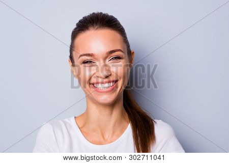 Close Up Photo Beautiful Amazing Pretty She Her Lady Show Ideal White Teeth Laughing Out Loud Hear H