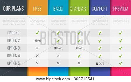 Simple Vector Illustration Of Business Plans Web Comparison Pricing Table. Art Design Modern Banner