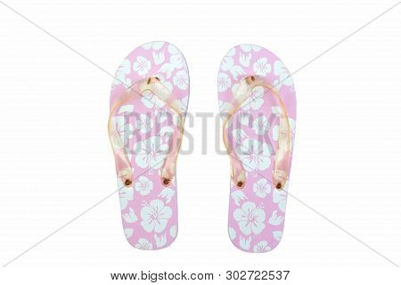 Pink With White Flowers Flip Flop Sandals Beach Shoes Isolated On White Background. Top View And Cop