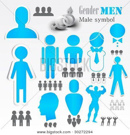 Symbols of the male sex. Vector set.